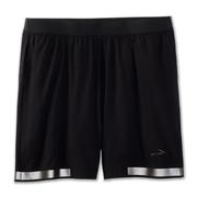 BROOKS MEN`S CARBONITE 7-INCH 2-IN-1 SHORT - RUN VISIBLE COLLECTION - BLACK 001.BLACK
