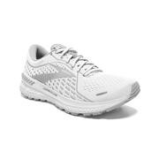 BROOKS WOMEN`S ADRENALINE GTS 21 RUNNING SHOES - WIDE (D) - WHITE/GREY/SILVER