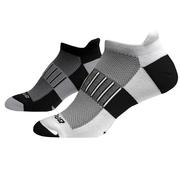 BROOKS UNISEX GHOST MIDWEIGHT SOCKS - NO-SHOW TAB - BLACK/OXFORD/WHITE (2-PACK) 040.BLACK.OXFORD.WHT