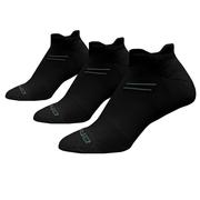 BROOKS UNISEX RUN-IN THREE-PACK SOCKS - NO-SHOW TAB - BLACK