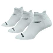 BROOKS UNISEX RUN-IN THREE-PACK SOCKS - NO-SHOW TAB - WHITE