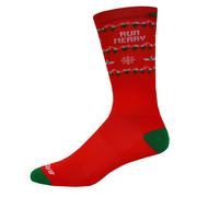 BROOKS UNISEX TEMPO KNIT-IN SOCKS - CREW - RUN MERRY COLLECTION - RUN JOLLY