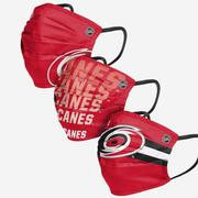 FOCO ADULT CAROLINA HURRICANES MATCHDAY FACE COVER - RED/BLACK/WHITE - 3 PACK RED.BLACK.WHITE