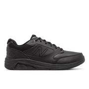 NEW BALANCE MEN`S LEATHER 928V3 WALKING SHOES - WIDE (2E) - BLACK/BLACK