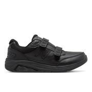 NEW BALANCE MEN`S HOOK AND LOOP LEATHER 928V3 WALKING SHOES - NARROW (B) - BLACK