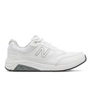 NEW BALANCE MEN`S LEATHER 928V3 WALKING SHOES - WIDE (2E) - WHITE/WHITE