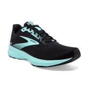 BROOKS WOMEN`S LAUNCH 8 RUNNING SHOES - WIDE (D) - BLACK/EBONY/BLUE TINT