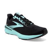 BROOKS WOMEN`S LAUNCH GTS 8 RUNNING SHOES - WIDE (D) - BLACK/EBONY/BLUE TINT 096.BLACK.EBONY.BLUE