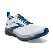 BROOKS MEN`S RICOCHET 3 RUNNING SHOES - WHITE/GREY/BLUE 199.WHITE.GREY.BLUE