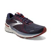 BROOKS MEN`S ADRENALINE GTS 21 RUNNING SHOES - PEACOAT/GREY/RED 420.PEACOAT.GREY.RED