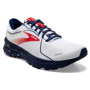 BROOKS WOMEN'S ADRENALINE GTS 21 RUNNING SHOES - RUN USA COLLECTION - WHITE/BLUE 166.WHITE.BLUE.RED