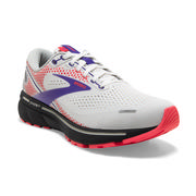 BROOKS WOMEN'S GHOST 14 RUNNING SHOES - WHITE/PURPLE/CORAL