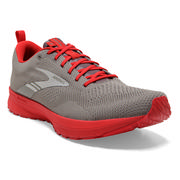 BROOKS MEN`S REVEL 5 RUNNING SHOES - BREAKTHROUGH COLLECTION - GREY/RED