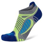 BALEGA ULTRA LIGHT RUNNING SOCKS - NO SHOW TAB - GREY HEATHER / ROYAL BLUE 0685.GREY.HTHR.BLUE