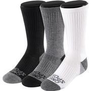 OMEGA SPORTS PERFORMANCE UNISEX SOCKS - CREW - SMALL - WHITE/GREY/BLACK - 3-PACK
