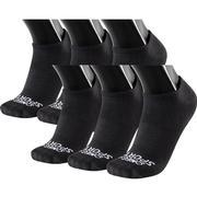 OMEGA SPORTS PERFORMANCE UNISEX SOCKS - FLAT KNIT NO-SHOW - LARGE - BLACK - 6-PACK 200.BLACK