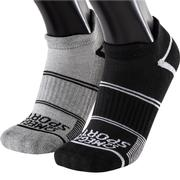 OMEGA SPORTS PERFORMANCE RUNNING SOCKS - NO-SHOW DOUBLE TAB - LARGE - BLACK/GREY - 2-PACK