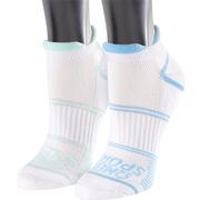 OMEGA SPORTS PERFORMANCE RUNNING SOCKS - NO-SHOW DOUBLE TAB - MEDIUM - GREEN/BLUE - 2-PACK