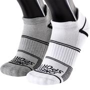 OMEGA SPORTS PERFORMANCE RUNNING SOCKS - NO-SHOW DOUBLE TAB - MEDIUM - WHITE/GREY - 2-PACK