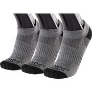 OMEGA SPORTS PERFORMANCE UNISEX SOCKS - NO-SHOW - LARGE - GREY/BLACK - 3-PACK