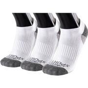 OMEGA SPORTS PERFORMANCE UNISEX SOCKS - NO-SHOW - LARGE - WHITE/GREY - 3-PACK