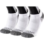 OMEGA SPORTS PERFORMANCE UNISEX SOCKS - NO-SHOW - LARGE - WHITE/GREY - 3-PACK WTGR.WHITE.GREY