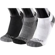 OMEGA SPORTS PERFORMANCE UNISEX SOCKS - NO-SHOW - X-LARGE - WHITE/BLACK/GREY - 3-PACK
