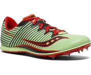 SAUCONY WOMEN`S VENDETTA 2 TRACK SPIKES (DISTANCE) - LIGHT GREEN/RED