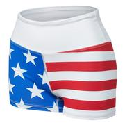 B.O.A WOMEN`S 2.5-INCH PRINTED FITTED RUNNING SHORT - AMERICAN FLAG AMERICAN.FLAG
