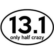 13.1 ONLY HALF CRAZY OVAL DECAL - WHITE WITH BLACK PRINT WHITE.WITH.BLACK