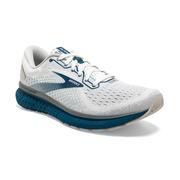 BROOKS MEN`S GLYCERIN 18 RUNNING SHOES - WIDE (2E) - WHITE/GREY/POSEIDON 178.WHTE.GREY.POSDN