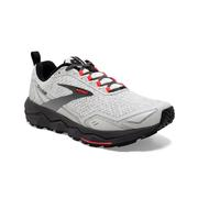 BROOKS WOMEN`S DIVIDE TRAIL RUNNING SHOES - WHITE/GREY/FIERY CORAL 128.WHITE.GREY.CORAL