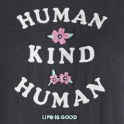 LIFE IS GOOD WOMEN`S HUMAN KIND HUMAN EMBROIDERED CRUSHER SHORT SLEEVE TEE JET.BLACK