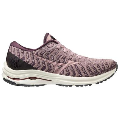 MIZUNO WOMEN`S WAVE RIDER 24 WAVEKNIT RUNNING SHOES - WOODROSE/PALE LILAC
