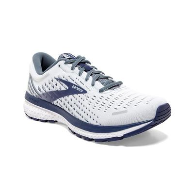 BROOKS MEN`S GHOST 13 RUNNING SHOES - WIDE (2E) - WHITE/GREY/DEEP COBALT
