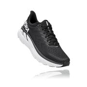 HOKA ONE ONE MEN`S CLIFTON 7 RUNNING SHOES - BLACK/WHITE BWHT.BLACK.WHITE