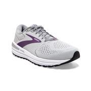 BROOKS WOMEN`S ARIEL `20 RUNNING SHOES - WIDE (D) - OYSTER/ALLOY/GRAPE